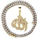 Halukakah Catena Oro per Uomo Iced out,Placcato Oro Reale 18k/Oro Bianco Platino Collana Ciondolo Islam Simbolo Allah,Diamant