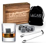 LACARI Set pietre Whisky | [9x] Cubetti di ghiaccio riutilizzabili | Set regalo Whisky con scatola di legno, pinze & borsa |