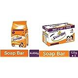 Santoor Sandal and Turmeric Soap Super Saver Pack, 100g (Pack of 4) And Santoor Sandal and Almond Milk Soap (Buy 4 Get 1 Free