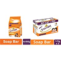 Santoor Sandal and Turmeric Soap Super Saver Pack, 100g (Pack of 4) And Santoor Sandal and Almond Milk Soap (Buy 4 Get 1 Free 125g each)