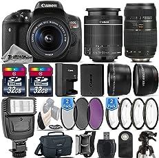 Canon Eos Rebel T6i DSLR Camera + Canon 18-55mm is STM + Tamron 70-300mm Macro Lens + Flash + 0.43X Wide Angle Lens + 2.2X Telephoto Lens + 64GB Storage - International Version (No Warranty)