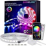 LED Strip 12.2M,SHINELINE LED Streifen mit APP Steuerung und Fernbedienung,RGB 5050 LED Lichter Sync Musik für Schlafzimmer,R