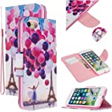 EnjoyCase Colorful Flip Case for iPhone SE 2020,Balloon Tower Painted Pu Leather Bookstyle Magnetic Closure Wrist Strap Walle