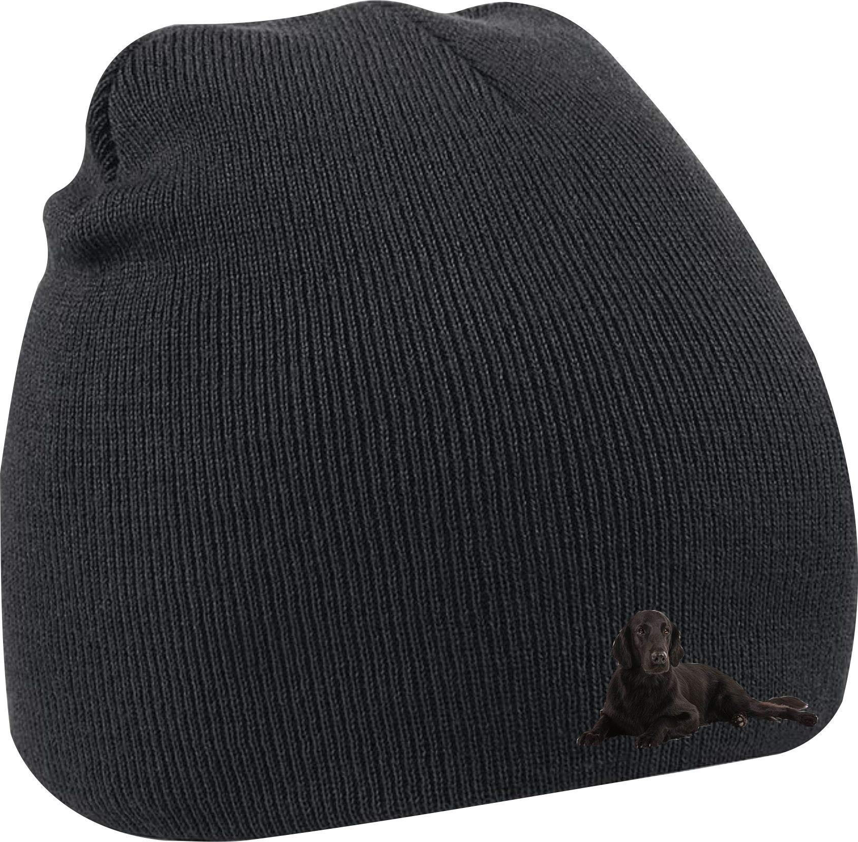 Taurus Clothing Flat-Coated Retriever Dog Personalised Embroidered Beanie Black