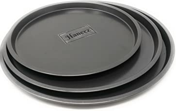 Haneez Non-Stick Pizza Pan - Set of 3, Black