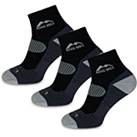 More Mile London Men's Running Ankle Socks (3 Pair Pack) Lightweight with Compression Arch Brace, Cushioned Heel and Toe…