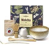 Vireo Bloom Set de Utensilios de preparación de la Ceremonia de té Verde Matcha - 450 ml 1 Chawan bowl (Chawan), Bata (Chasen