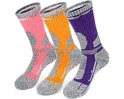 KOOOGEAR 3 Pairs Womens Socks, Walking Hiking Socks for Ladies Anti Blister Breathable Cushioned Crew Socks for Sports Cyclin