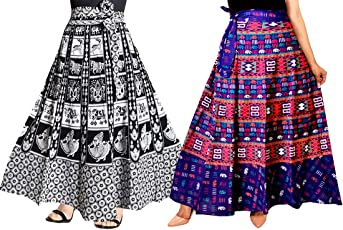 Mudrika Cotton Printed Women's Long Skirt Multi-Coloured_Free Size (Pack of 2 pcs)