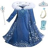 YOSICIL Vestido Elsa con Capa Disfraz de Princesa de Invierno Niñas Manga Larga Vestido Frozen Nieve Traje de Fiesta Costume
