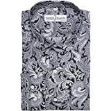 "Mens Designer 100% Cotton Regular Classic Fit Printed Paisley Floral Shirts S M L XL 2XL 3XL 4XL Collar Sizes 14.5-19"""