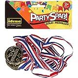 Idena 40433 Partykul guldmedaljer, 4 stycken, med tryckvinnare, inklusive band med säkerhetslås, diameter 3,5 cm, bandlängd c