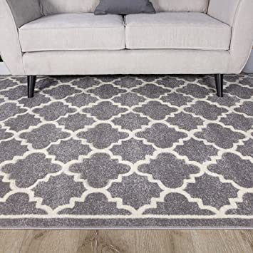 Light Grey Silver Geometric Trellis Fish Net Design Living Room Floor Rug 120cm X 170cm Amazoncouk Kitchen Home