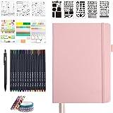 Prickig journal set, 224 numrerade sidor fuskläder A5 rutnät hårt omslag rosa anteckningsbok planerare med index innerficka,