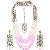 I Jewels Traditional Gold Plated Kundan Pearl Wedding Choker Jewellery Set with Earrings & Maang Tikka for Women (ML164CO)