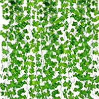 PETALSHUE-Artificial Ivy Garlands Leaves Greenery Hanging Vine Creeper Plants Bunch for Home Decor maindoor Wall Door Balcony Office Decoration Photos Party Festival Craft -Each 7 ft (6 Pcs)