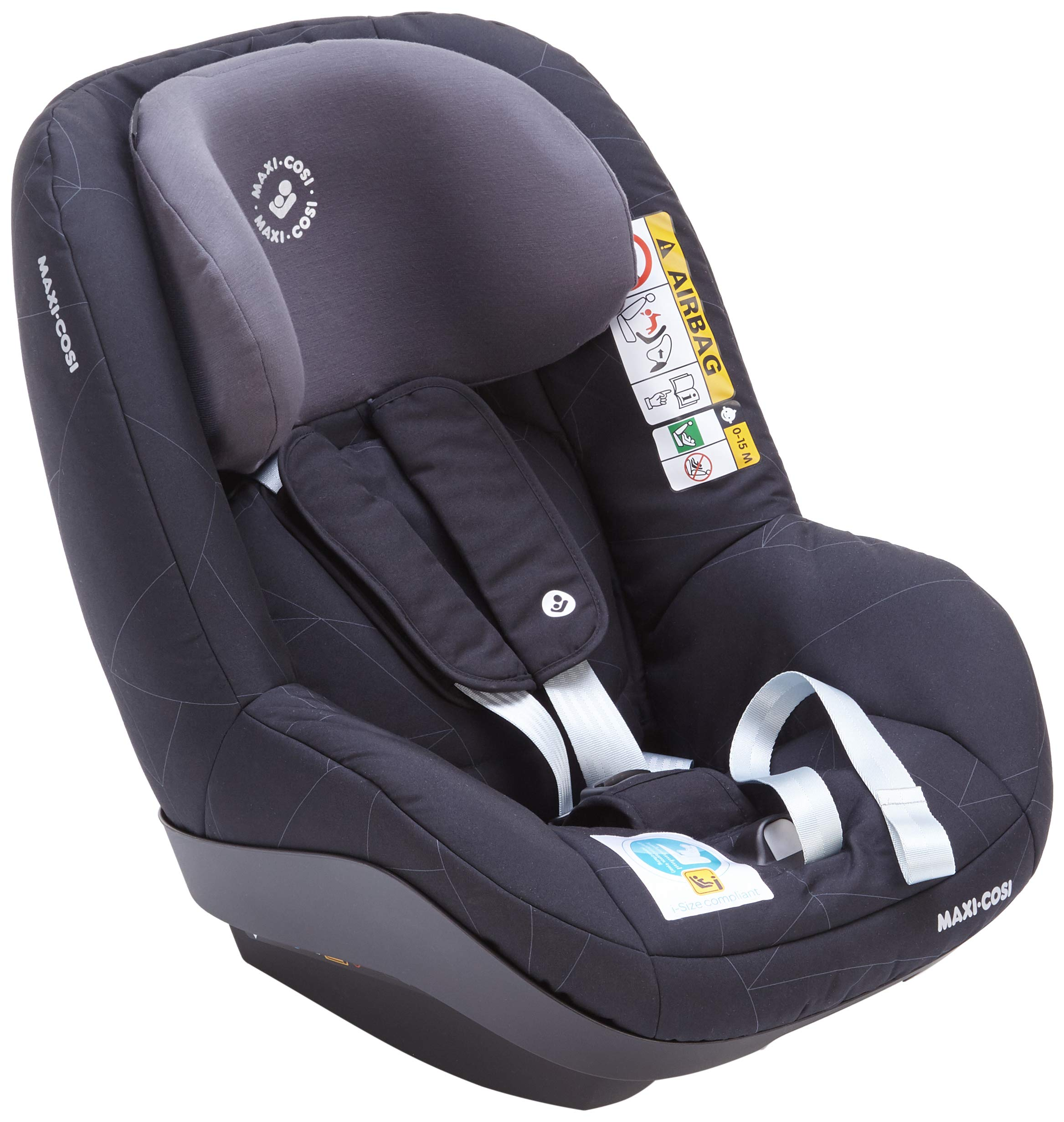 Maxi-Cosi Pearl Smart i-Size Toddler Car Seat, 6 Months - 4 Years, 9-18 kg, 67 - 105 cm, Black Diamond Maxi-Cosi Car seat for toddlers, suitable from 6 months to 4 years (9 - 18 kg, 67 - 105 cm) Must be installed in combination with family fix one i-size base Harness and headrest of this car seat adjust simultaneously for easy adjustment when child grows 1