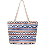 XiYee Strandtasche Damen, Schultertasche Einkaufstasche mit Reißverschluss, große Umhängetasche Handtasche für Strand Reiseta