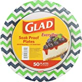Glad Tabletop Round Disposable Paper Plates With Green and Blue Chevron Design, 7 Inches, 50 Count