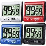 Lot de 4 minuteurs de cuisine numériques à grand écran - Minuteurs électroniques magnétiques avec alarme puissante - Noir, bl