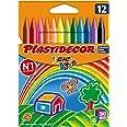 BIC Kids Plastidecor - Ceras para colorear, antimanchas para actividades creativas en casa y el colegio, blíster de 12 unidad