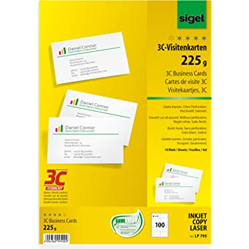 Sigel 225g 85 X 55mm A4 3C Business Cards