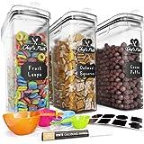 Set de Cajas de Almacenaje para Cereales y Harina - Tapers para Comida Herméticos, 8 Etiquetas, Set de Cucharas Medidoras y B