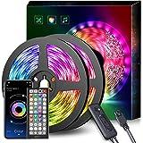 Ruban LED, Mexllex 15M 5050 RGB Bande LED, Contrôlé par APP Télécommande, Synchroniser avec Rythme de Musique, Led Chambre Dé