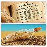 Einladungen zum Geburtstag (30 Stück) im Flaschenpost Motiv Einladungskarten