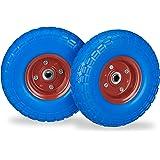 Relaxdays 2x steekwagenwiel 4.1/3.5-4'', anti lek banden, 16 mm as, tot 150 kg, 260x85mm, rubber, keuze uit div. kleuren