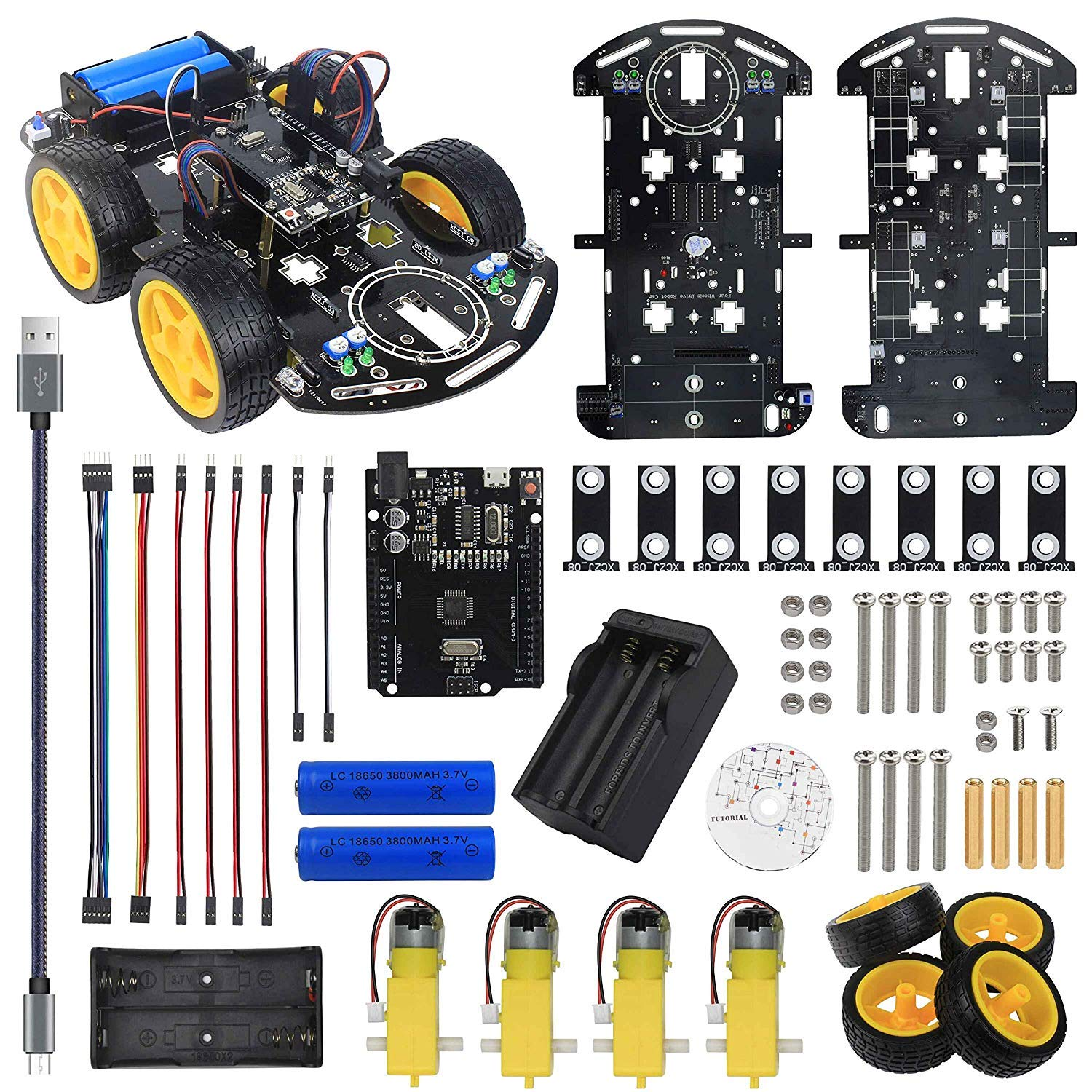 Basic Smart Robot Car Chassis for Arduino UNO R3 , Motor Wheel, Line