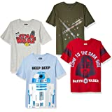 Spotted Zebra Boy's Disney Star Wars Marvel Short-Sleeve T-Shirts, Pack of 4
