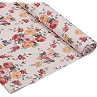 Kuber Industries Flower Design PVC Wardrobe Kitchen Drawer Cupboard Cabinet Shelf Mat, Shelf Liner 5 Mtr (Cream) - CTKTC040186