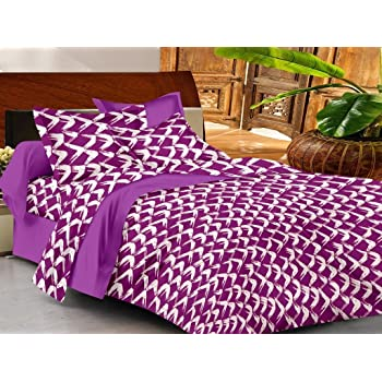 Casa Copenhagen Basic 144 TC Cotton Double Bedsheet with 2 Pillow Covers - Purple and White