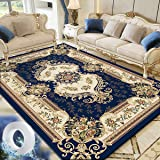 Vintage Flower Area Rug Living Room Carpet Center Rugs Large Floor Mat Anti-slip and Washable 160x230cm Dark Blue with 3m Nan