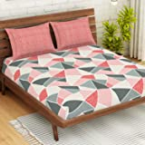 """Spaces Atrium 144 TC 100% Cotton Queen Size Double Bedsheet with 2 Pillow Covers (Geometric, 88"""" X 100"""" Inches) - Peach"""