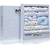 DOTMOM Newborn Clothes 100% Cotton Gift Set for Baby Shower (Blue, Pack of 23)