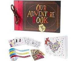 Pulaisen Our Adventure Book, UP Scrapbook DIY Handmade Family Retro Photo Album Scrapbook with Storage Gift Box (Adventure Bo