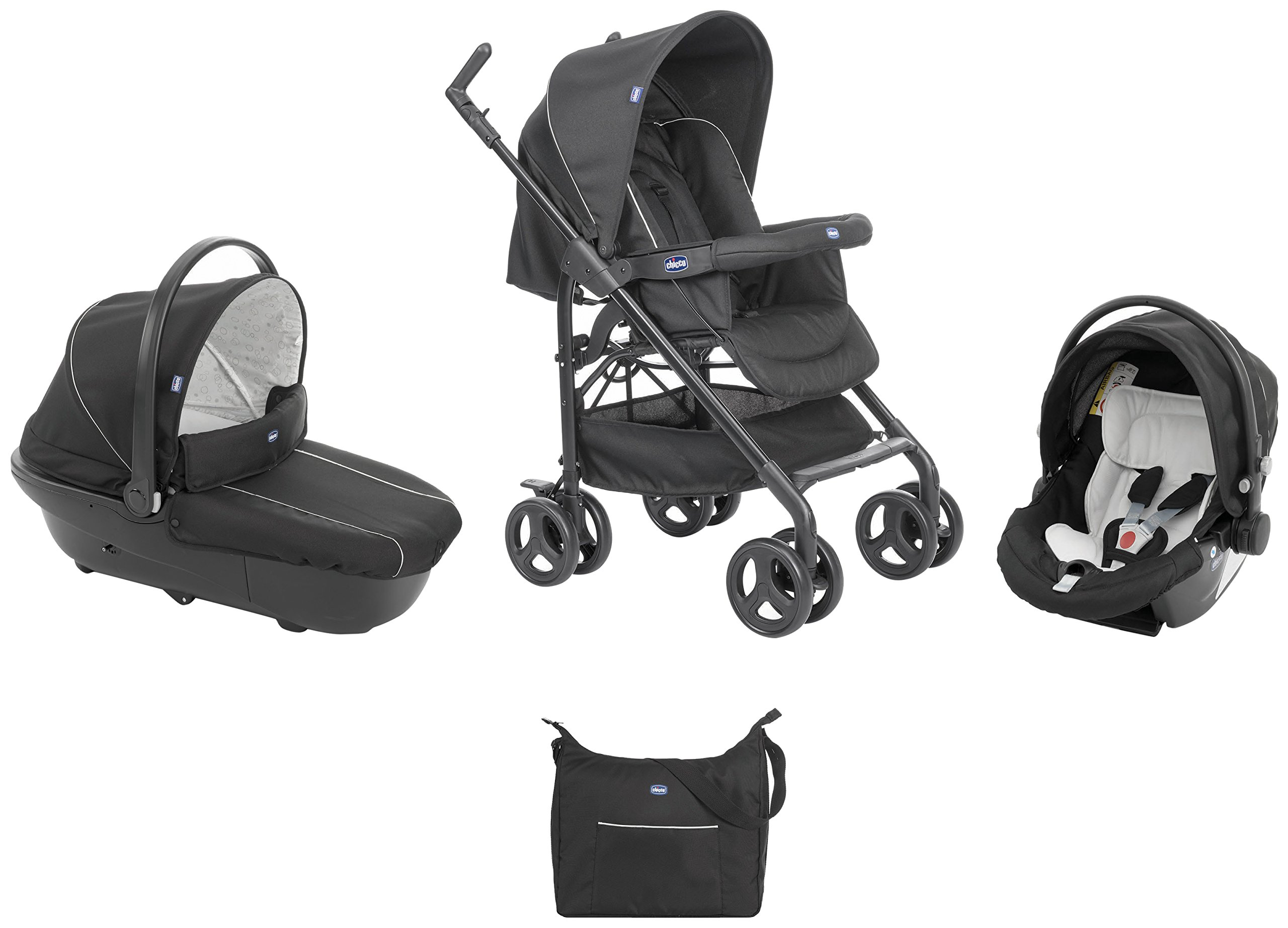 Chicco Trio-System Sprint Black with Car Kit, Black Night Chicco Sprint is a lightweight sports car with a large, comfortable seat / bed With baby shell synthesis 0+ incl. 5-point-belt, kiva with 3-point-belt incl. kit car, rain cover Incl. exit bag with changing mat, footmuff, comfort handles (360 ° ergonomic twist-push handles), hanging basket 2
