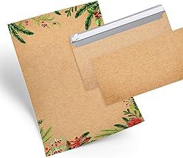 SET 25 Weihnachten Briefpapier rot grün weiß Weihnachtspapier + 25 Kuverts weihnachtliches Papier DIN A4 mit Brief-Umschlag Weihnachtsbriefpapier beige natur
