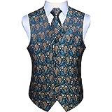 Enlision Men's Paisley Waistcoat Floral Jacquard Neck Tie Pocket Square Handkerchief Wedding Party Business Fit Vest Tweed Su