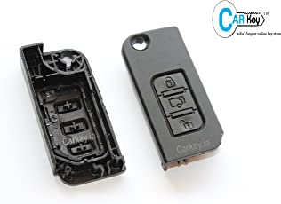 Carkey Xuvfront- Mahindra 3 Button Black Flipkey Front Replacement Key Shell