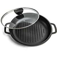 Griddle Pan with Lid NonStick - Die Cast Aluminium Induction Hob Skillet with Glass Lid – Ideal for Grilling, Oven…