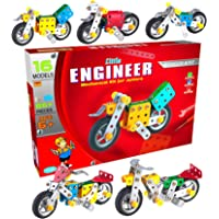 SARTHAM Kids Metal Construction Based Educational Toy / Dhoom Bike, Age 6+ (Multicolour)