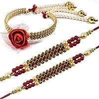 Urvi Creations Set of 3 Beautiful Rakhi Set with Bhabhi Lumba Wristband Bracelet Rakhi for Brother Bhaiya Bhai Bhabhi…
