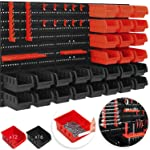 MASKO® Wandregal + Stapelboxen + Werkzeughalter | 45 tlg Box | Erweiterbar | Werkstattregal Lagerregal Steckregal Set Box...
