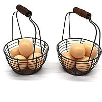 CVHOMEDECO. Mini paniers à œufs en fil métallique avec poignée en bois Style vintage Lot de 2.