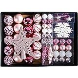 YILEEY Weihnachtskugeln Weihnachtsdeko Set Rosa 68 STK in 14 Farben, Kunststoff Weihnachtsbaumkugeln Box mit Aufhänger…