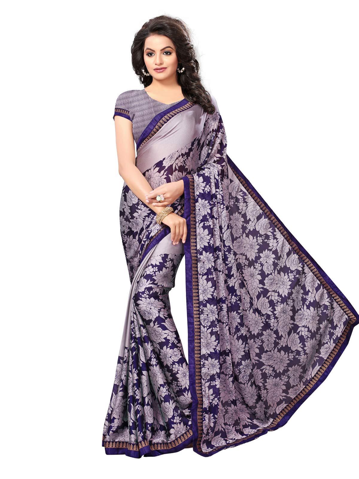 Kanchnar Women's Violet Chiffon Georgette Printed Saree677S4