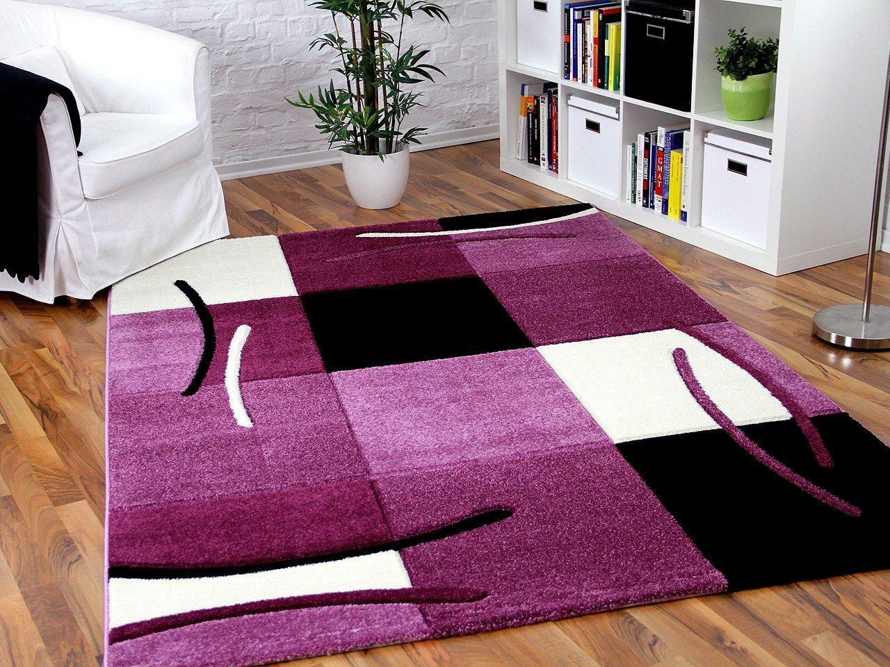 Teppich lila  Designer Teppich Maui Lila Schwarz Grau Karo in 5 Größen ...